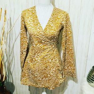 Diane Von Furstenberg Mustard Yellow Wrap Top